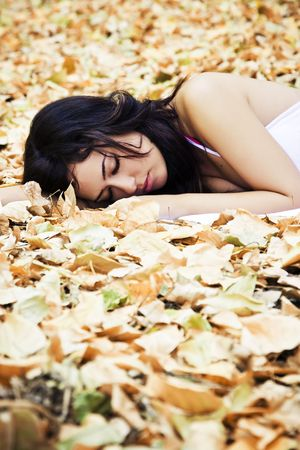jungle girl: Beautiful woman sleeping over fallen leaves.