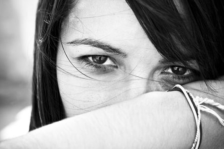 Young staring woman in contrasted black and white. Stock Photo - 3538106