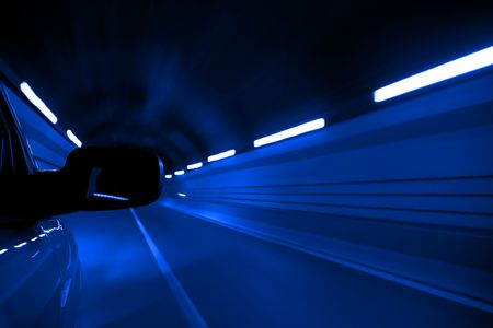Driving fast inside tunnel, blue toned. Stock Photo - 3595688