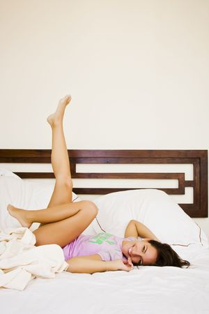 Young beautiful woman enjoying her waking up. Stock Photo - 3676644