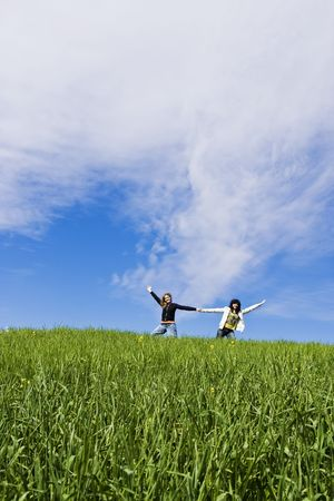 Two arms raised friends in a meadow Stock Photo - 3790550