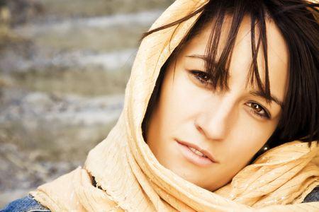 Young woman wearing muslim veil photo