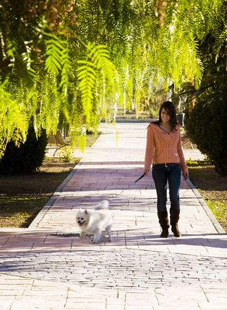 woman walking: Young woman walking with her pet. Stock Photo