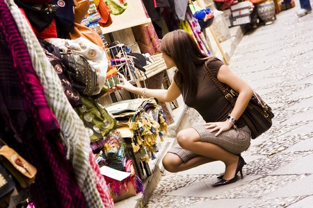 Woman shopping in arab styled market photo