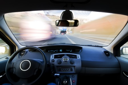 Inside car view at high speed. Stock Photo