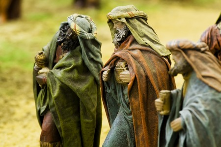 The three wise kings. Focus in the central figurine. Stock Photo