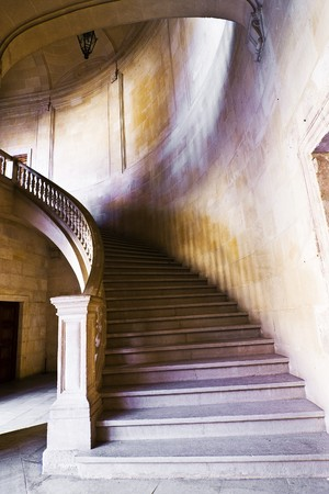 castle interior: Stone stairs in antique palace.