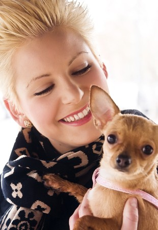 Young smiling woman with her little chihuahua. Focus on woman. Stock Photo