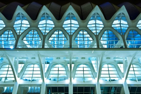 nightshot: Symmetrical composition from abstract building detail. Stock Photo