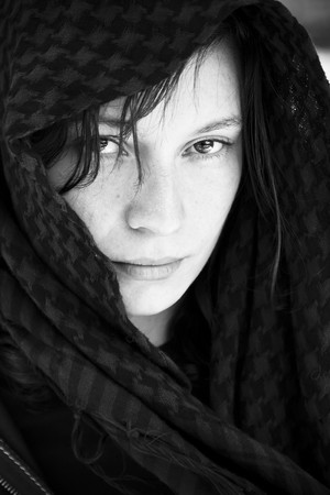 Staring woman portrait covered by veil Stock Photo - 4225284