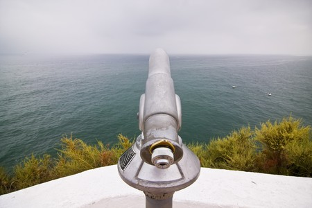 monocular: Metal monocular pointing to the Atlantic