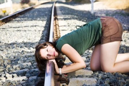 Woman on railroad Stock Photo - 5349455