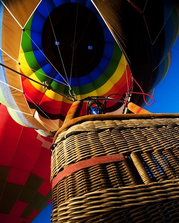 Colorful inflated balloon seeing from below
