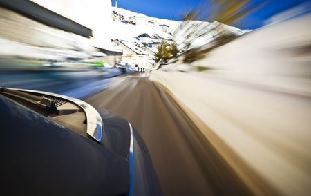 faster: Driving at high speedover the snow Stock Photo