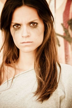Angry woman portrait after crying. Stock Photo
