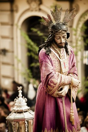the redeemer: Christ statue on the streets in April catholic celebration.