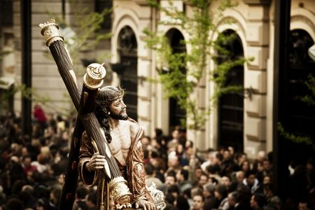 he is public: Christ statue on the streets in April catholic celebration.
