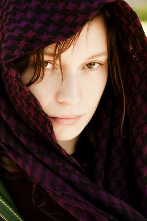 Staring woman portrait covered by veil Stock Photo - 4786677