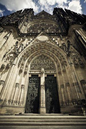 vitus: St. Vitus cathedral facade at Prague