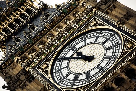 London clock tower detail at almost twelve o�clock photo