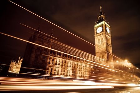 bigben: Nocturne scene with Big Ben behind light beams