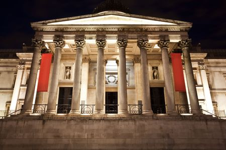 british museum: National Gallery museum facade at night.