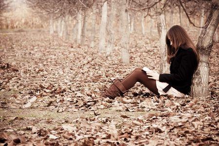 mujer leyendo libro: Joven mujer irreconocible leer un libro en el bosque. Foto de archivo
