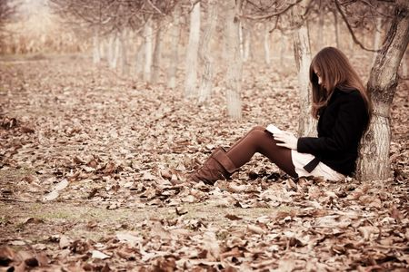 novel: Young unrecognizable woman reading a book in the forest.