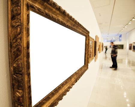 cadre: Museum corridor with a blank big frame