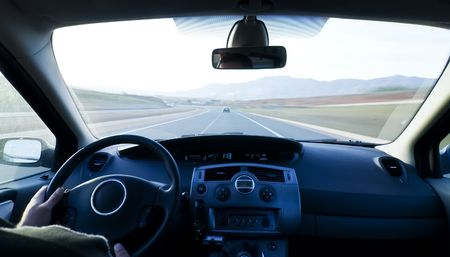 dash: Inside car view at high speed. Stock Photo