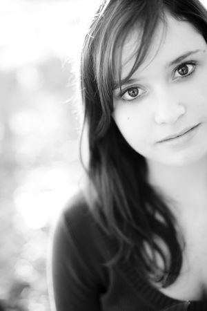 20s  closeup: Young beautiful girl portrait in soft black and white