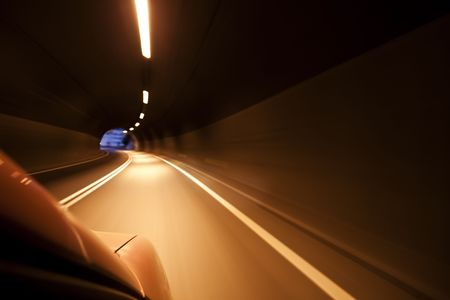 Arriving at the end of the tunnel at high speed. photo