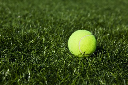 Tennis ball over the green, copy space composition. photo