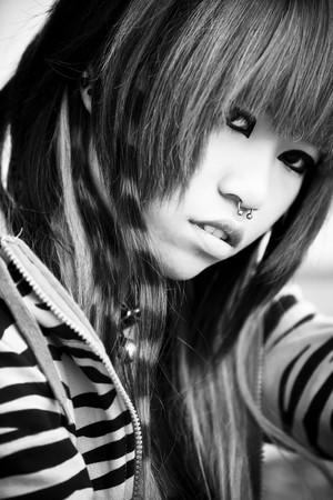 Young nose oierced asian girl portrait photo