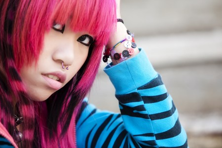 Young asian pink haired girl portrait photo