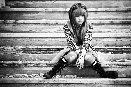 anime young: Young asian sad girl with cosplay looking. Stock Photo