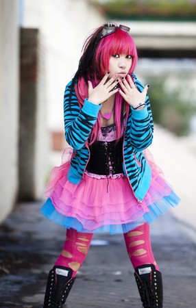 cosplay: Young asian girl in oops gesture. Stock Photo