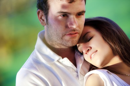 Young beautiful loving couple close portrait. Stock Photo - 7043308
