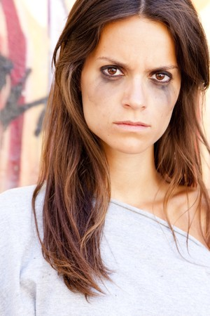 penumbra: Angry woman portrait after crying. Stock Photo