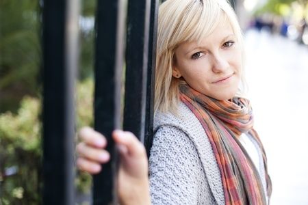 Young beautiful  portrait of a blond girl. photo