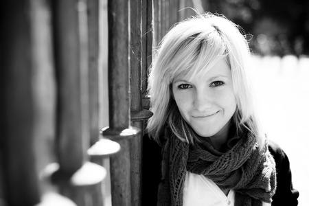 Young beautiful monochrome portrait of a blond girl. photo