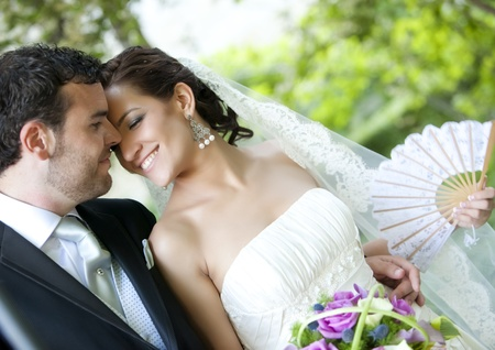Groom kissing bride on their wedding day. Stock Photo
