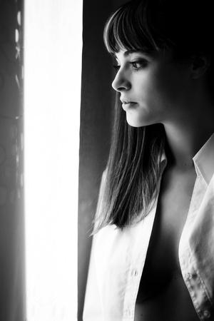 Junge sensual Woman Portrait in schwarz und weiß Lizenzfreie Bilder