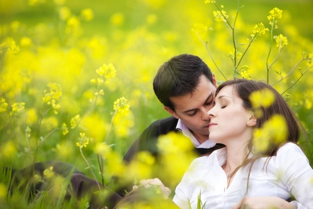 relationship love: Young beautiful couple loving each other in nature.
