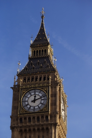 Close up of the clock face on the famous landmark clock tower known as Big Ben in London, photo