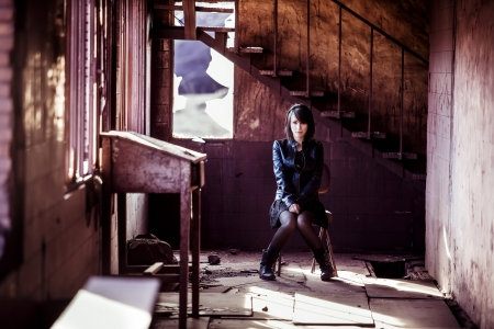 Young beautiful woman inside rusty building Stock Photo - 17886279