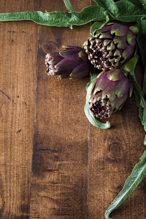 clave: Natural artichokes over dark wood table Stock Photo
