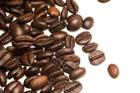 clave: Coffee beans isolated on white background