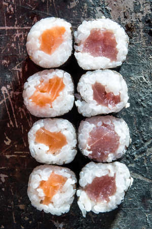 clave: Sushi food. Traditional japanese food make with raw fish