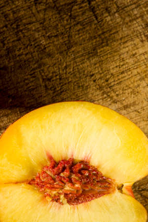 clave: Nectarine over wooden table in a rustic style Stock Photo